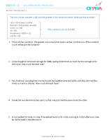 1 – Algebra Word Problems