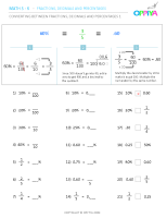 3 – Converting Between Fractions, Decimals & Percentages