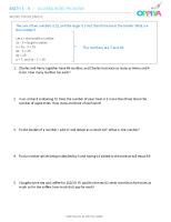 8 – Algebra Word Problems